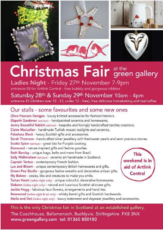 Invitation to Green Gallery Christmas Fair