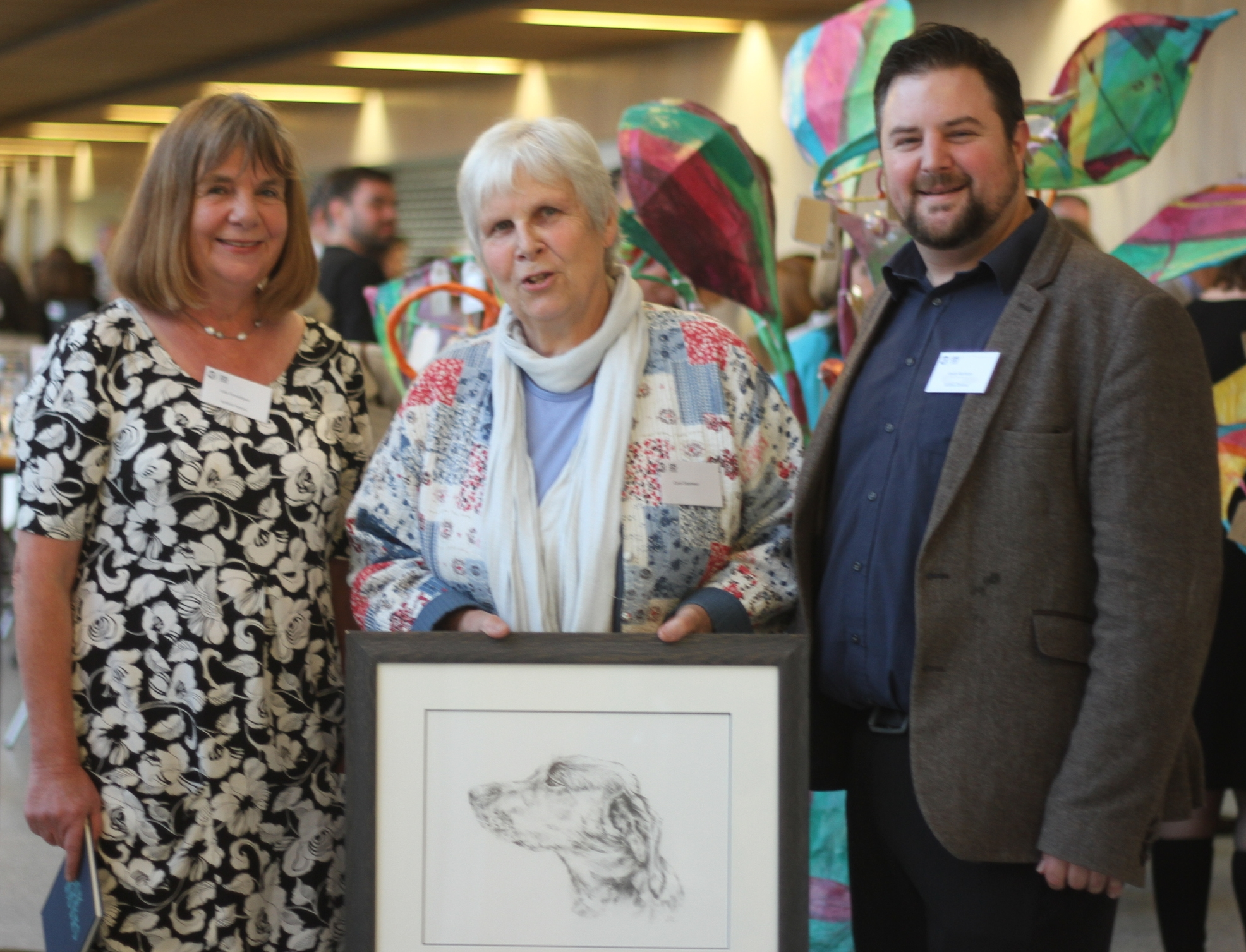 Julia Donaldson, Patron of Artlink Central, with Carol Seymour, 'Queen of the Volunteers' and Director Kevin Harrison at the 25th Anniversary of Artlink Central.