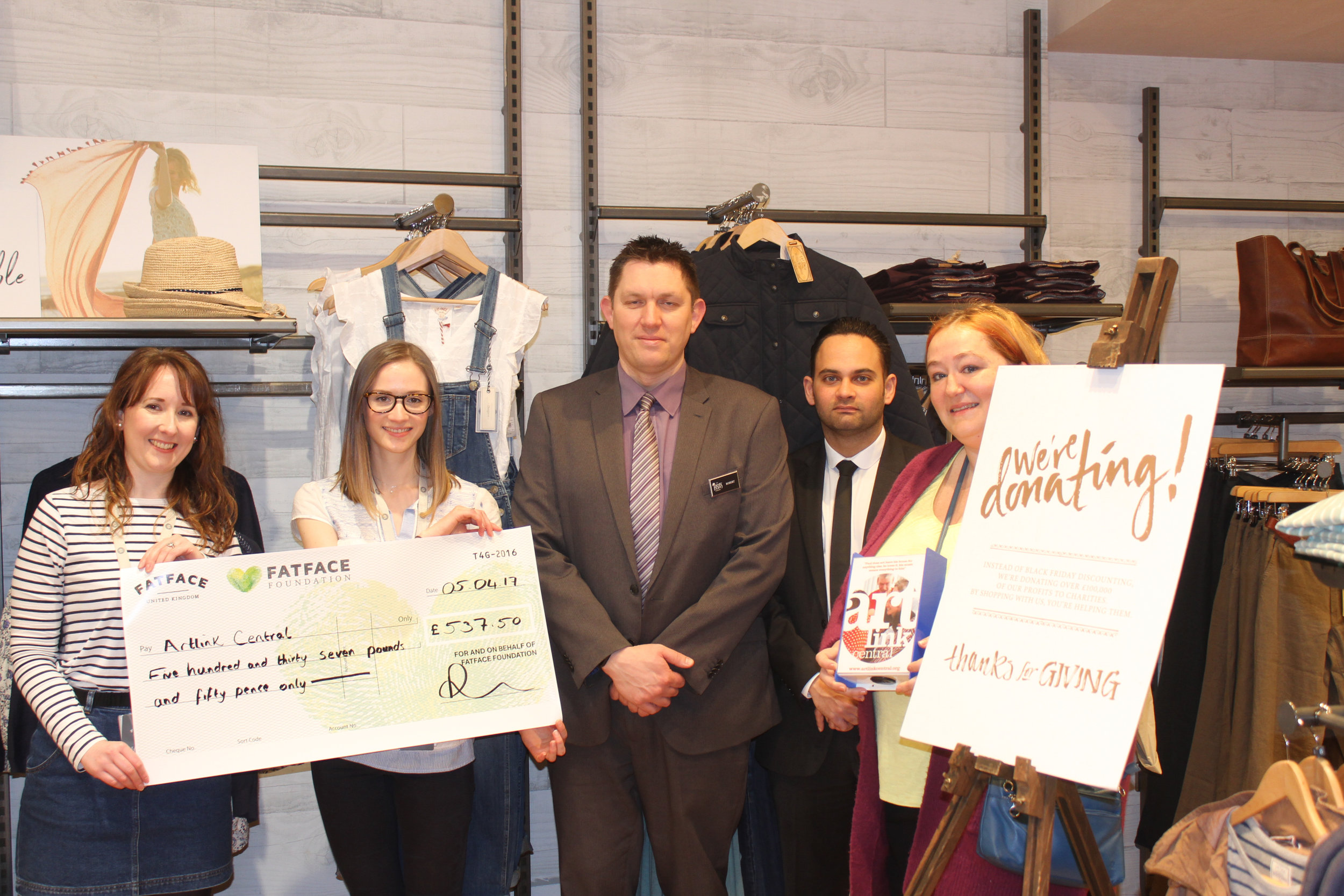 Artlink Central has benefitted from support from Fatface Stirling and the Thistles Stirling team offering support to the arts charity in recent months.