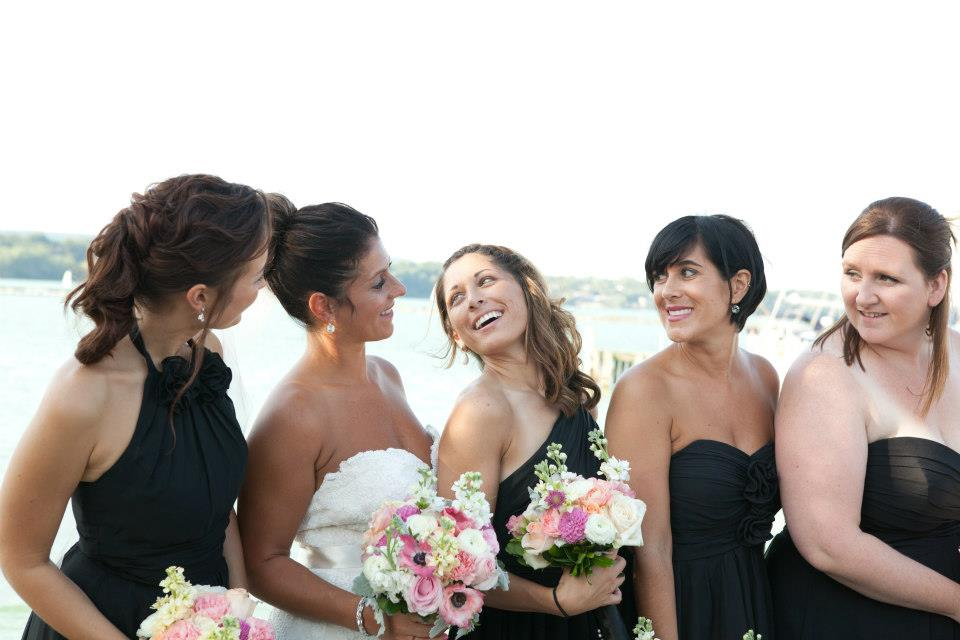 black dresses are so elegant for the bridesmaids