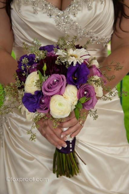 Angie's Bridal Bouquet of purple & white flowers