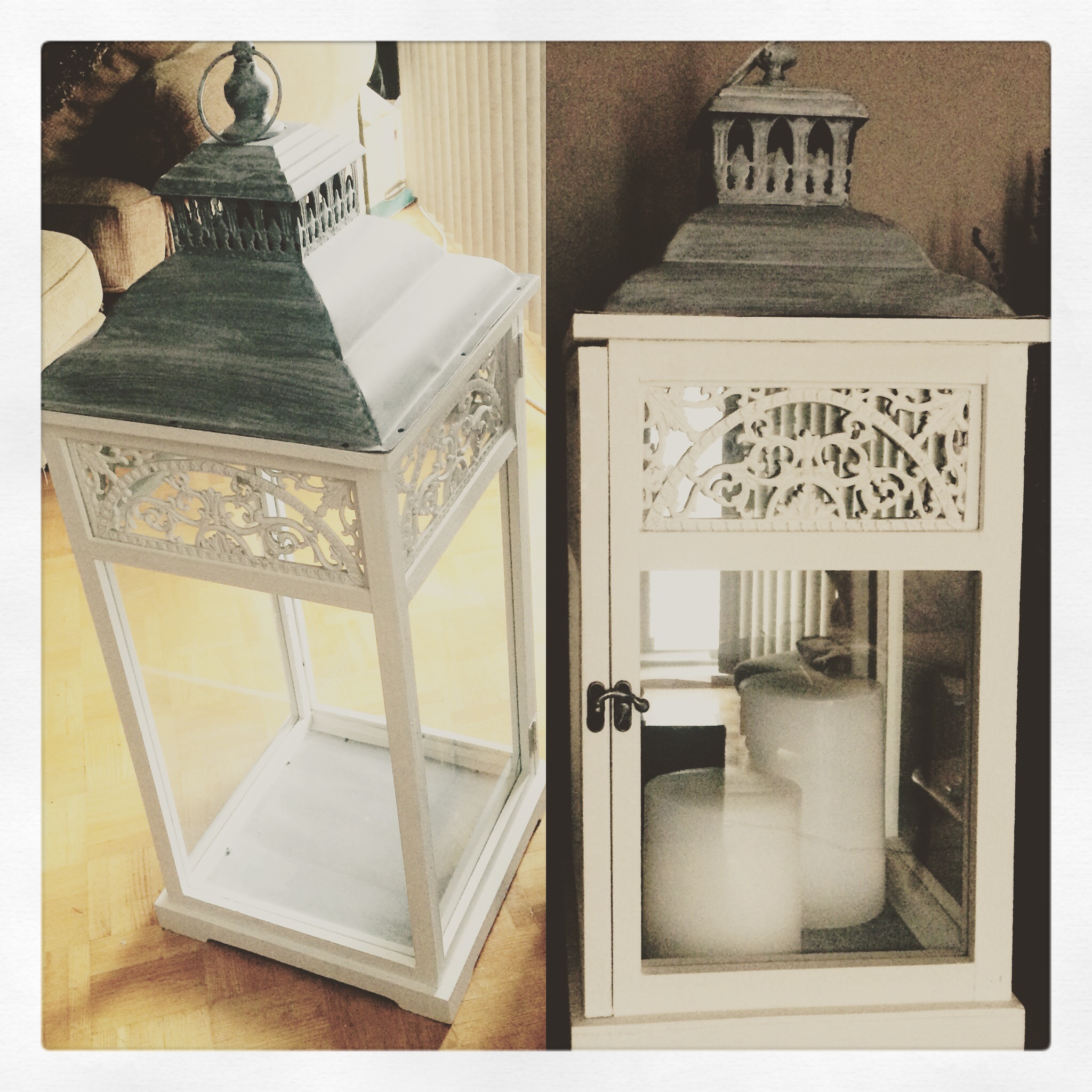 White & grey vintage lanterns. Filled with either candles creating that romantic ambiance or blooms bursting through and spilling out the doors. Whichever design you choose, these are perfect for your ceremony. They accent the elegant, the rustic & the vintage/romantic of weddings!! The small is 2ft & the large is 3ft in height.