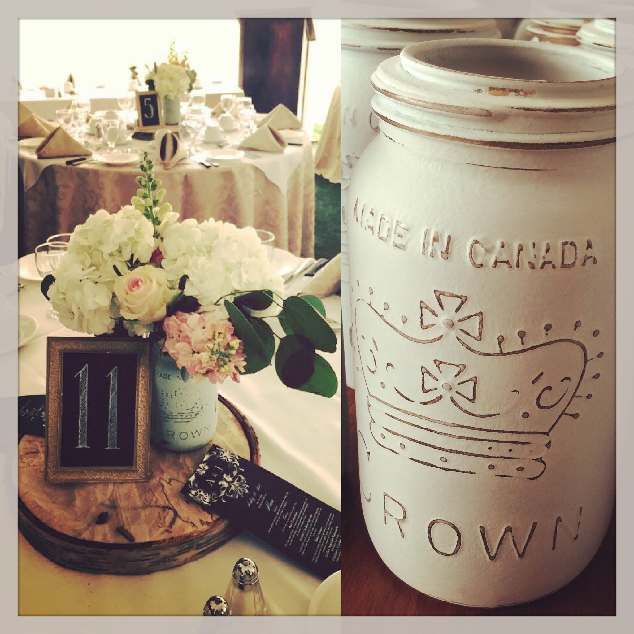 Painted vintage mason jars!! These are so rustic, so cute and perfect filled with blooms.  Available in many colours too!!  These can be rented or purchased - perfect for your guests to take home.