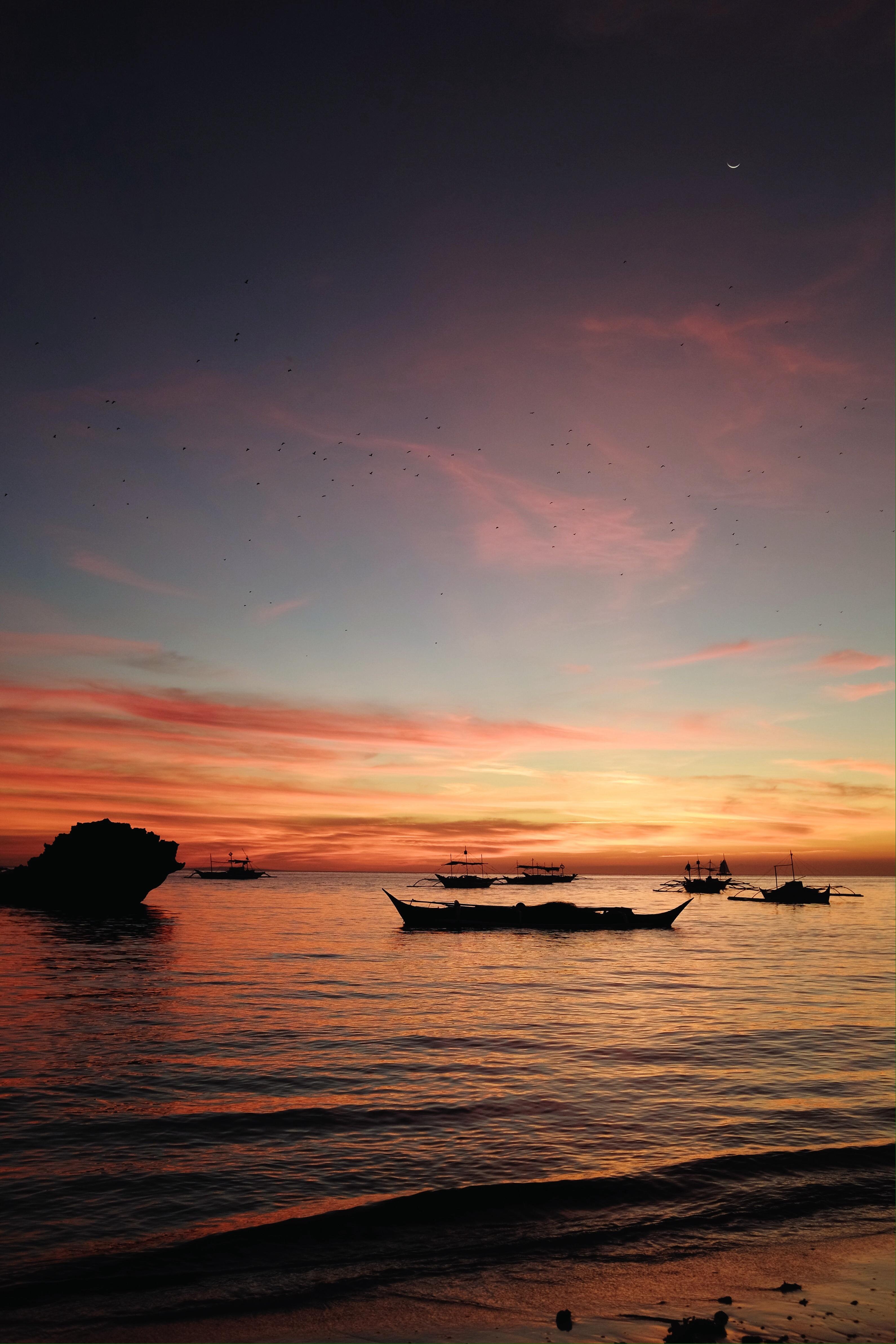 Sunset from Diniwid Beach. The bats are a bonus treat.