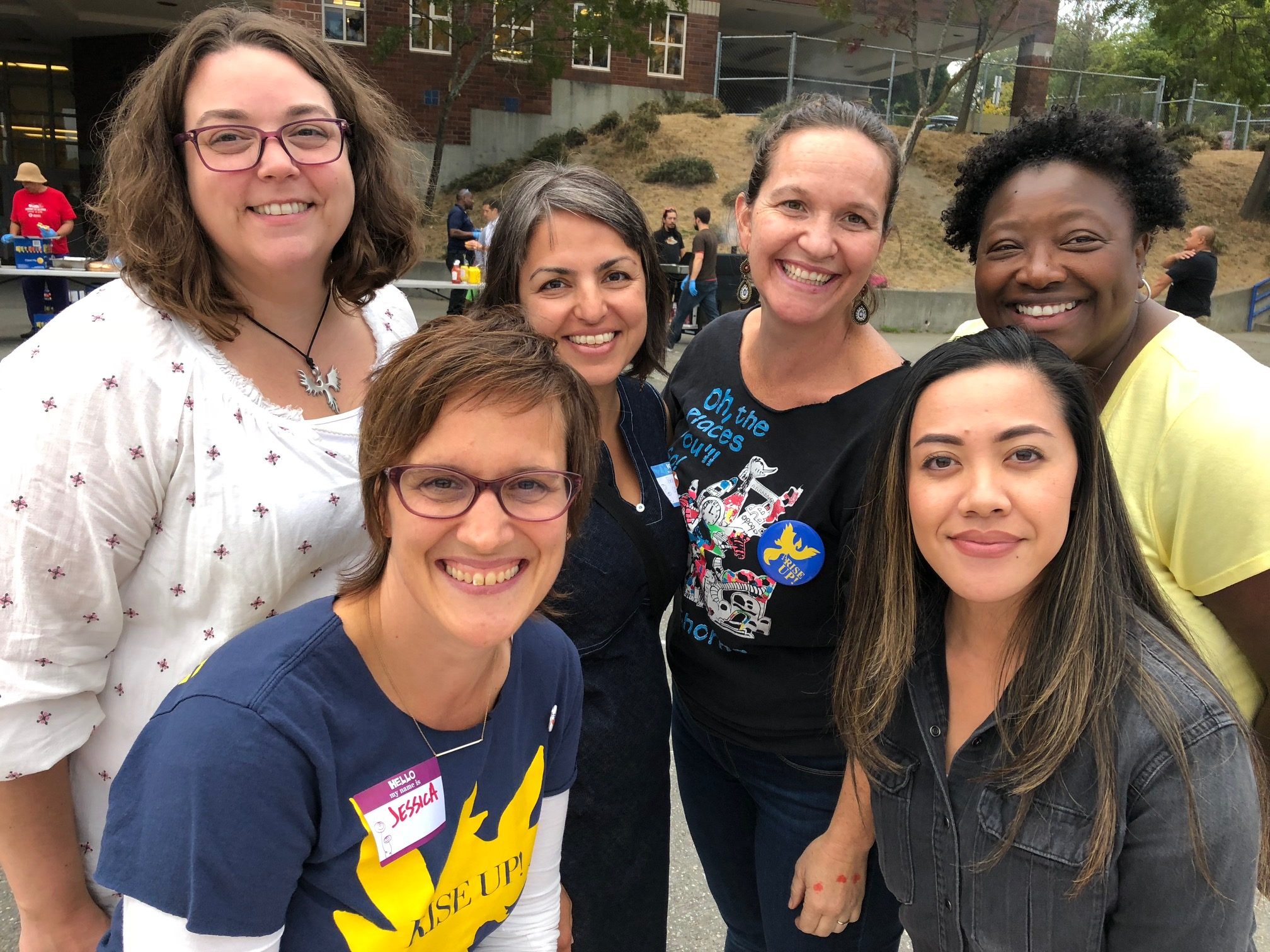 Meet your Friends of Hawthorne PTA Board!  Back row, from left: Maureen Merrill, Co-Treasurer; Behnosh Najafi, Co-President; Marita Grunfeld, Co-President; Angela Bell-Austin, Vice President. Front row, from left: Jessica Emerson, Co-Treasurer; Cherish Jackson, Secretary.