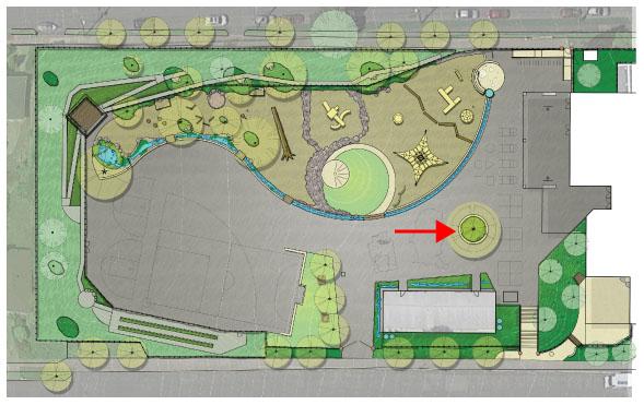Location of Center Tree on Playground