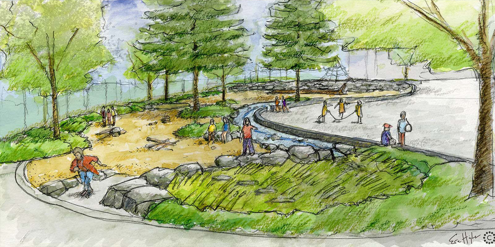 Artist sketch of nature play area