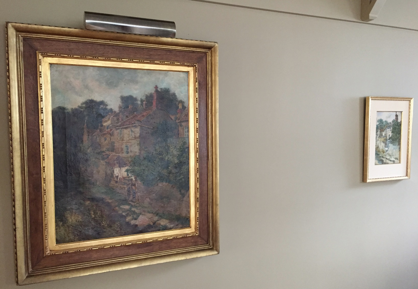 Two paintings of the same view: one large, one small. One oil, one watercolour!