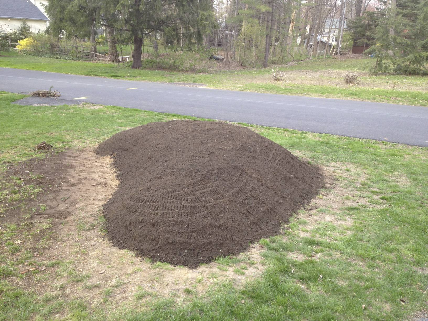 Next, we had Olsen's deliver some top soil, and we finalized the shape of the berm.