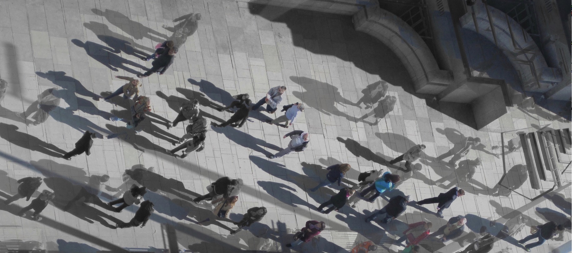London Eye . ©2015 Sean Walmsley.This is a view looking down from one of the gondolas of the London Eye.This photo is a combination of several photos taken within milliseconds of each other, then layered together in both black-and-white and color.