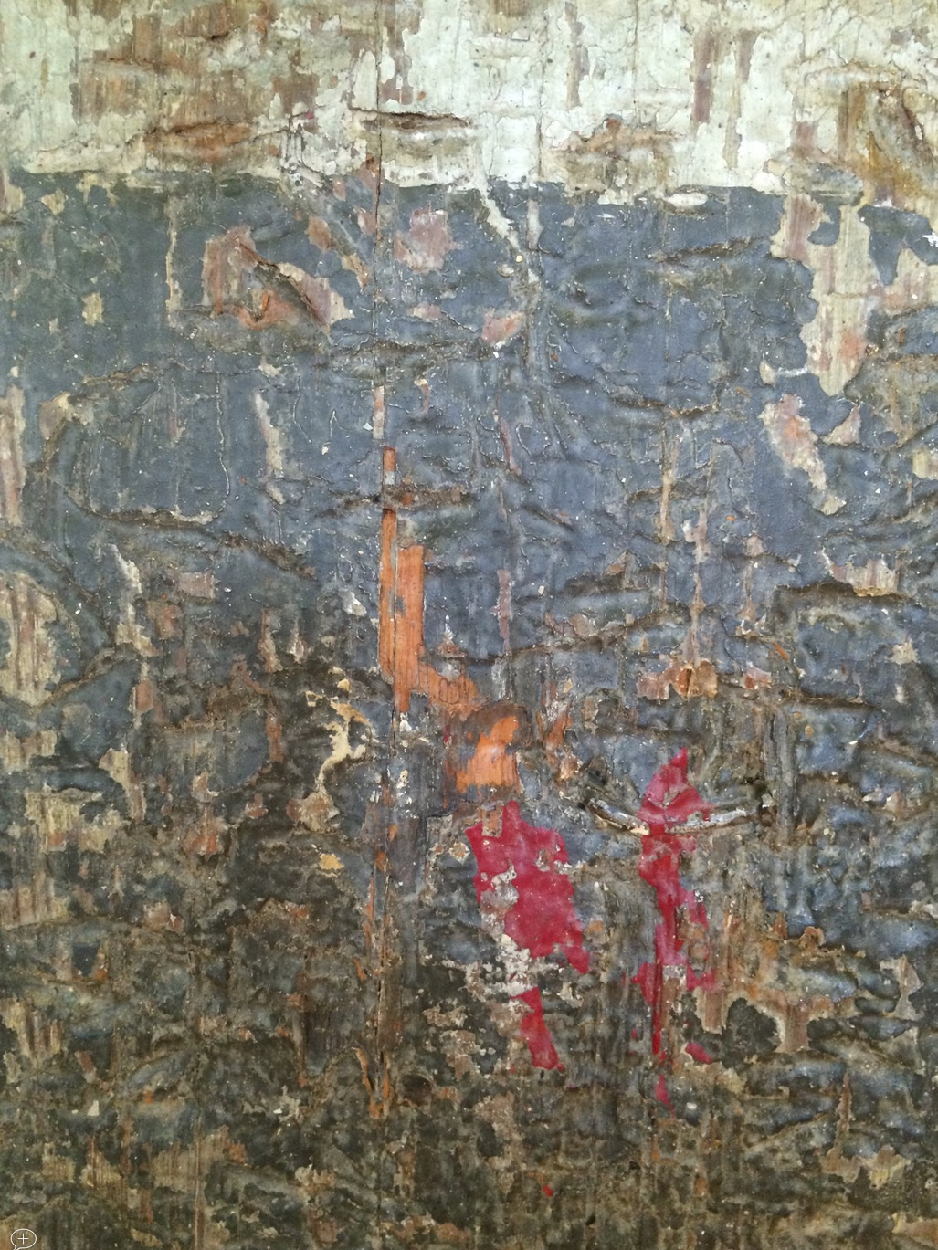 Detail of one of the support column photos showing the encrusted paint. [Not shown this size at SH&W]
