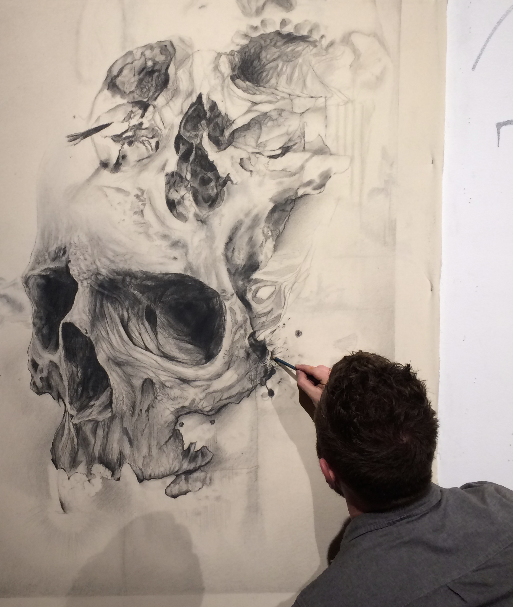 3rd Skull detail- Sergio Barrale-pencil on canvas-6x4ft-$3,200.JPG