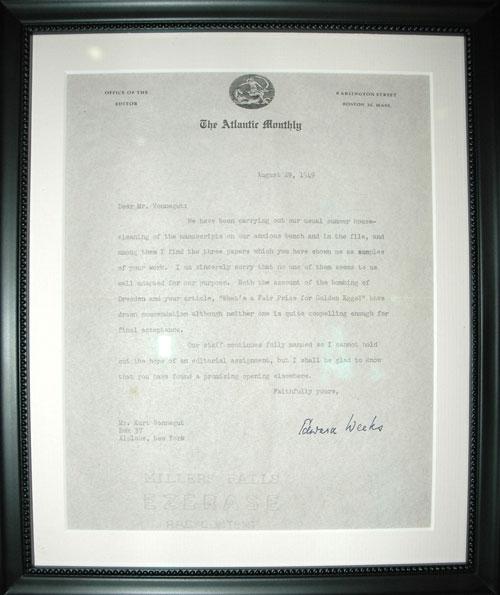 Photo (Vonnegut Rejection Letter): Saturday Evening Post