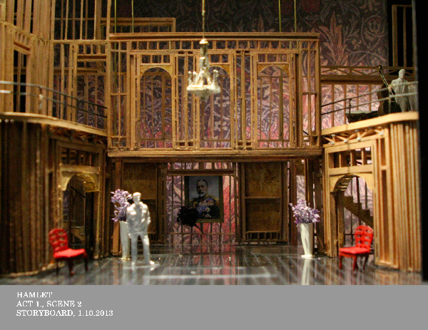 """This shows the basic configuration of the set, with all of the pieces  in. It is the setup for most of the """"great hall"""" scenes. Upstage is an  icky official portrait."""