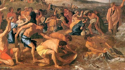 """Image: detail of """"The Crossing of the Red Sea"""" by Nicolas Poussin, via Wikipedia"""
