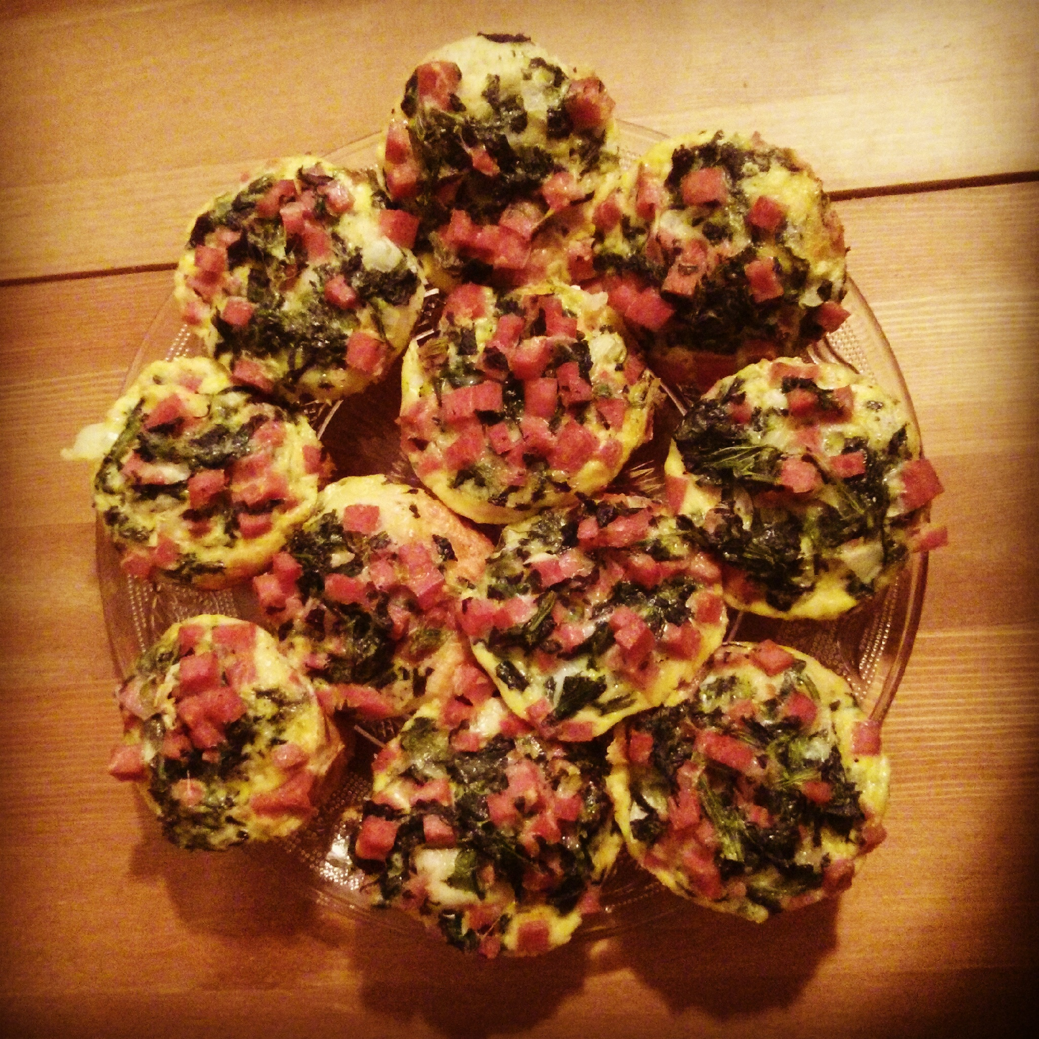 Spam and spinach mini quiches.