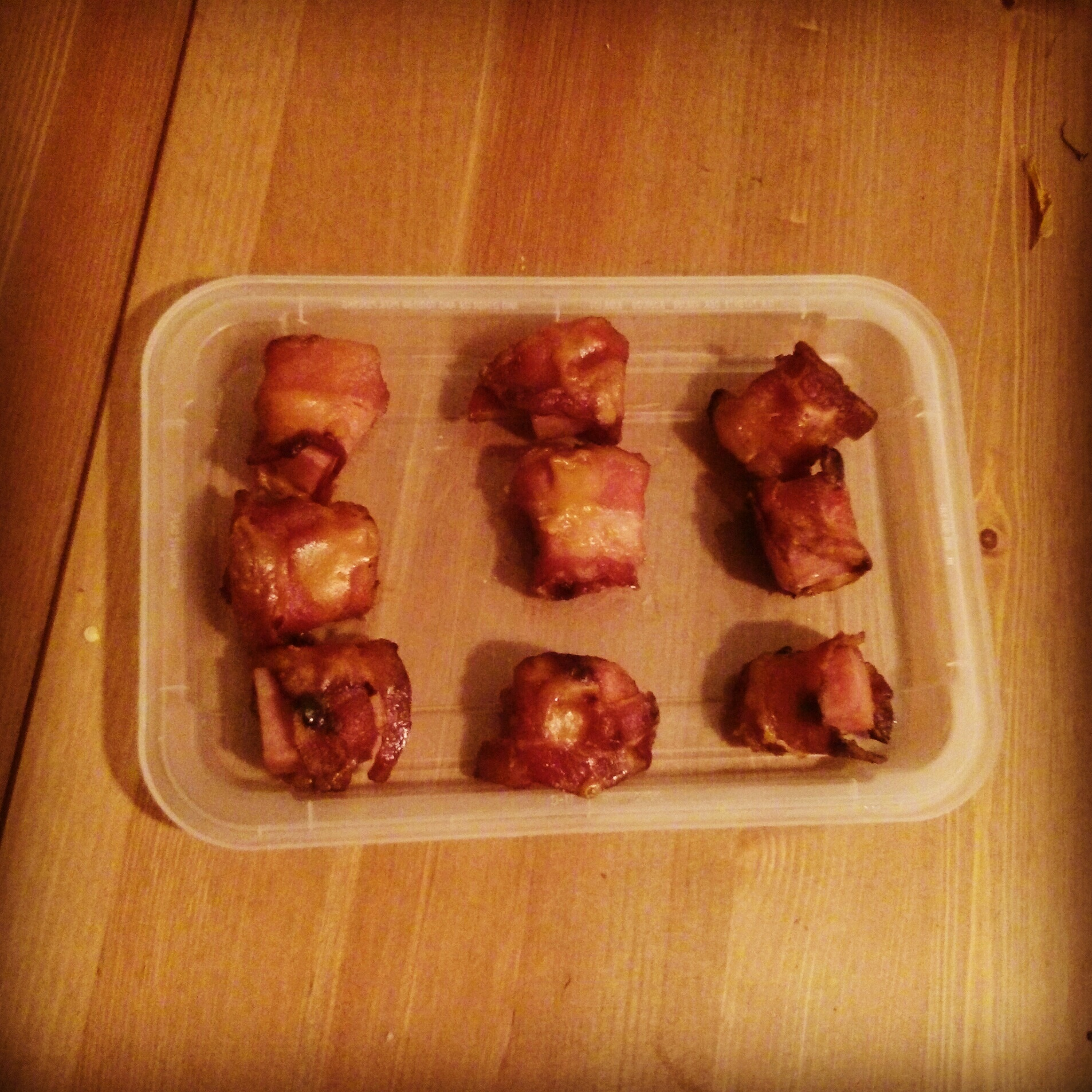 Bacon-wrapped Spam bites.