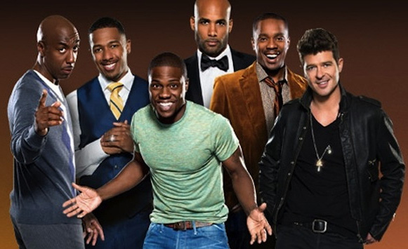 Sadly, even to look this short, I'm sure Kevin Hart (center, short) is standing on a pile of phonebooks.