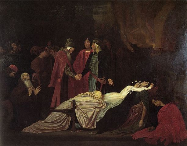 The Reconciliation of the Montagues and Capulets over the Dead Bodies of Romeo and Juliet,   Frederic Lord Leighton