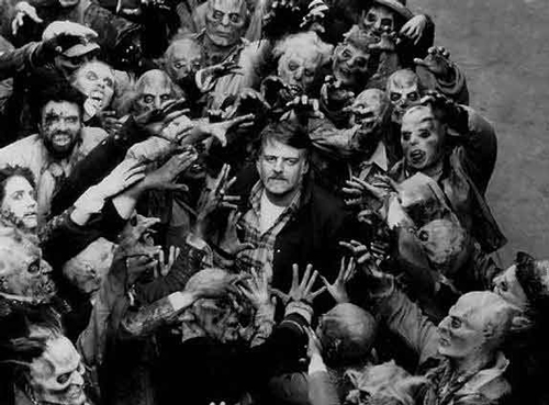 Night Of The Living Dead  director/zom-father George Romero with his creations.