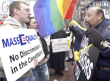 The right guy (standing on the left) won, gay marriage passed in Massachusetts, and it was a huge step for equality not just in Boston, but everywhere.