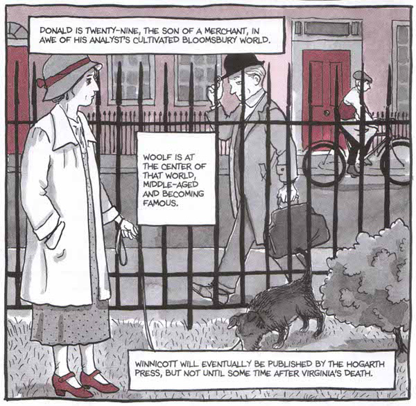 A panel from the book in which Bechdel imagines two of her recurring quasi-characters, Virginia Woolf and Donald Winnicott, crossing paths.