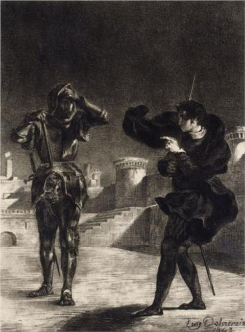 An illustration of Hamlet seeing the ghost of his father from 1843. Boo! Shakespeare!