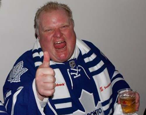 Losing the play-offs was bad, but this picture of Maple Leafs' superfan drunk Rob Ford is worse.