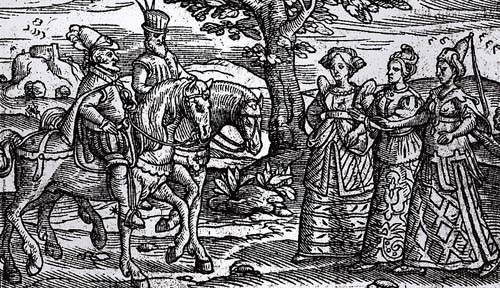 The witches from  Macbeth  in a ye olde illustration.