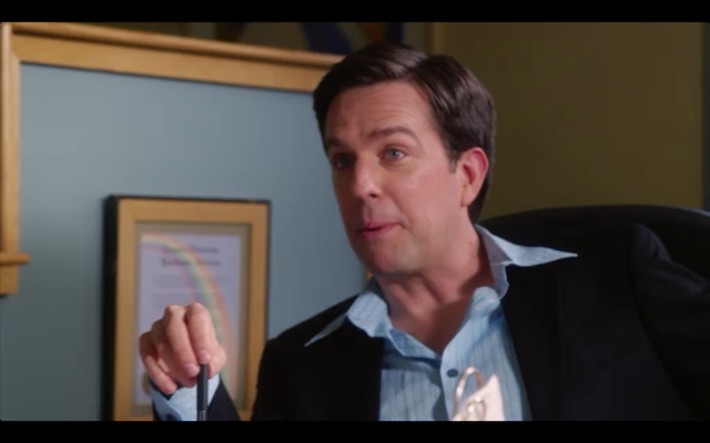 Ed Helms reprising his role as real estate/talent agent James Carr (RIP).