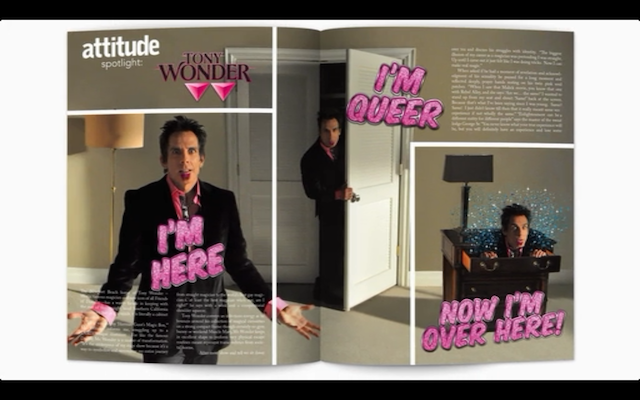 Ben Stiller as Tony Wonder, the gay(ish?) magician.