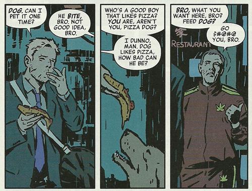 Hawkeye, in a suit, feeding a dog pizza. In my eyes, that's pretty heroic.