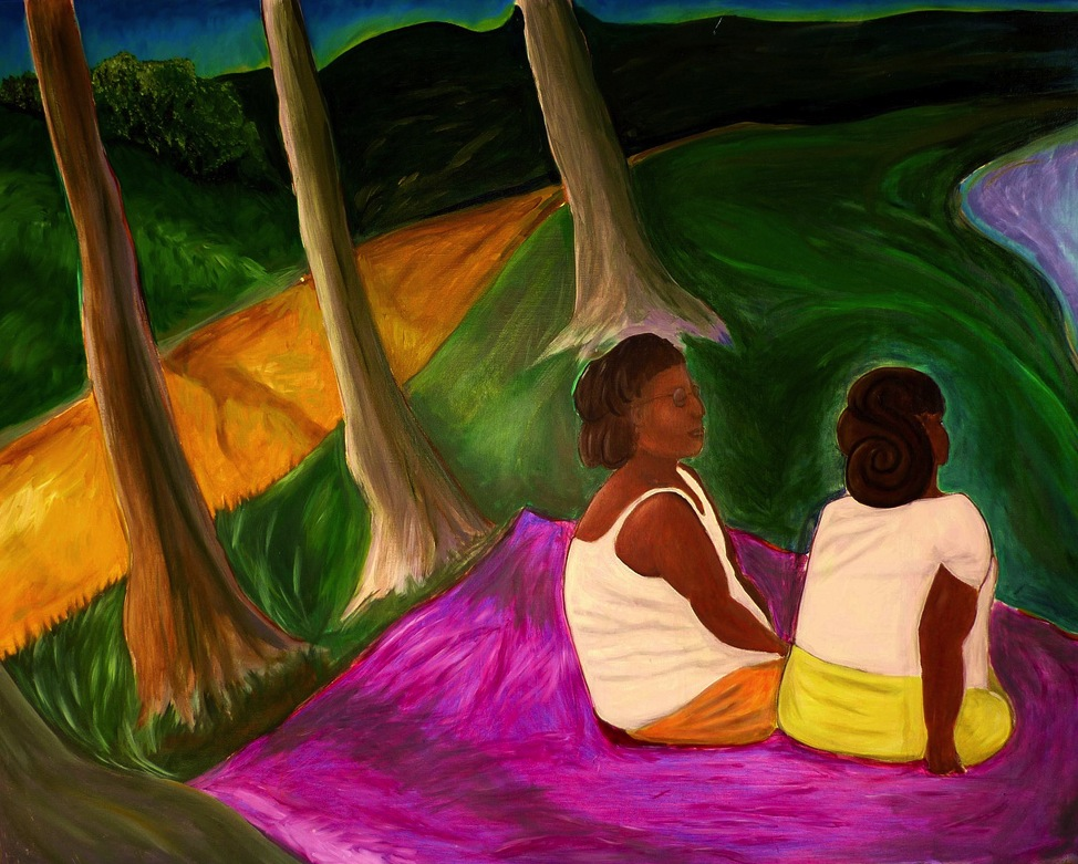 Two Women in the Park (Credit: Painting by  Evan Branch , used with creative commons license)