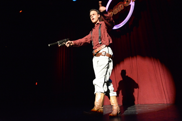 Firefly's  Captain Malcolm Reynolds is too busy shooting Captain Hammer from  Dr. Horrible's Singalong Blog  to strip.