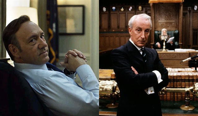 Frank Underwood and Francis Urquhart from the American and U.K. versions of  House of Cards , respectively