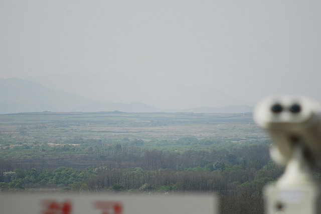 Looking into North Korea from the Cheorwon Peace Observatory, South Korea (Credit: Photography by Flickr User  Jo ; used with Creative Commons license)