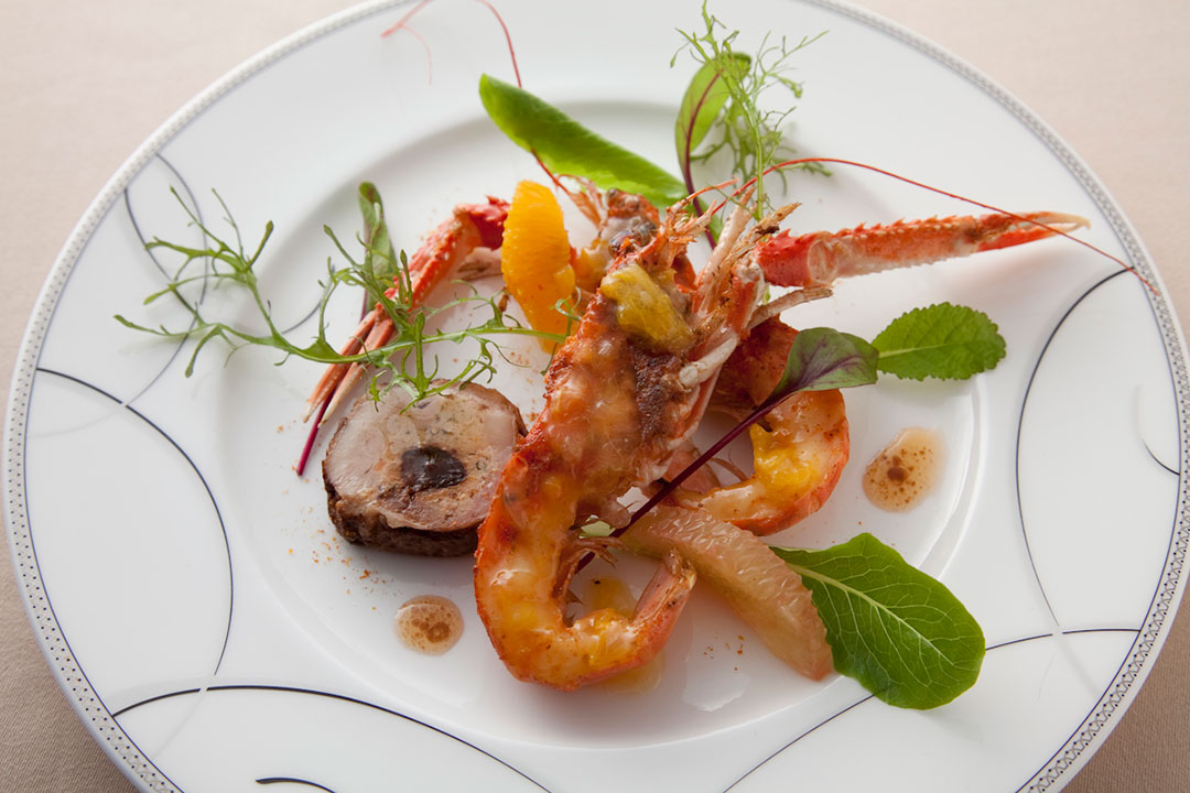 Grilled langoustine and duck pate with citrus hollandaise sauce prepared by Koh Kikuchi