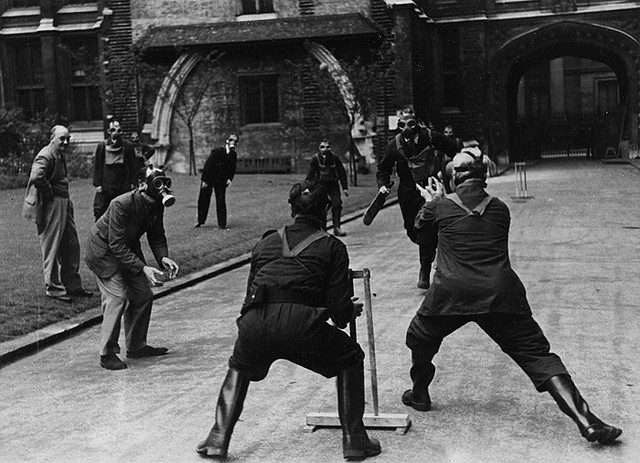 A game of cricket during the Blitz (via  Flickr )