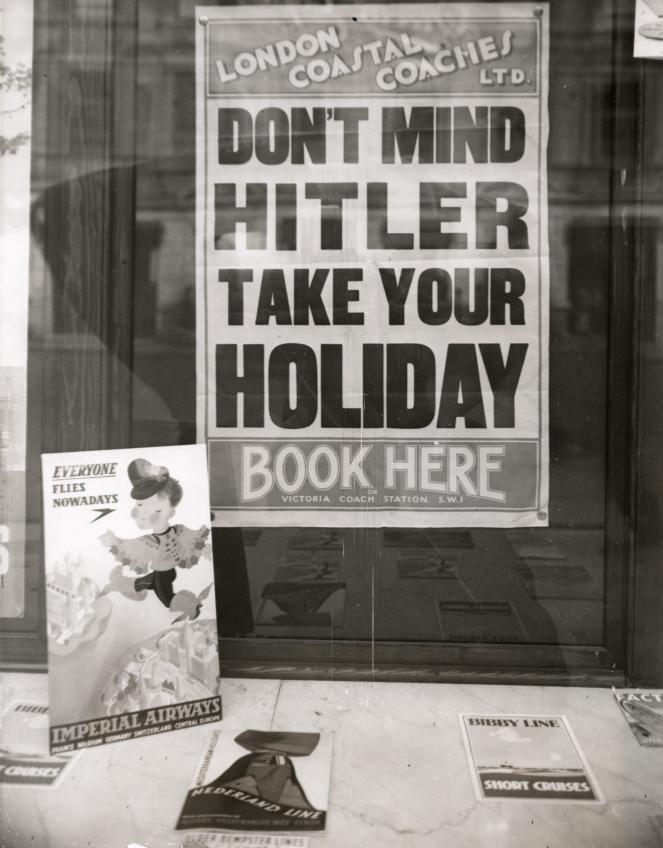 Poster in London travel agency, 1939 (via  Flickr )