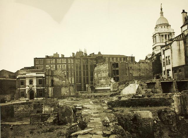 Air raid damage in London during World War II (via  Flickr )
