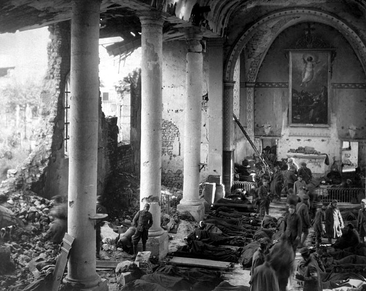 Wounded American soldiers in a church in Neuvilly, France, 1918 (via    Wikimedia Commons   )