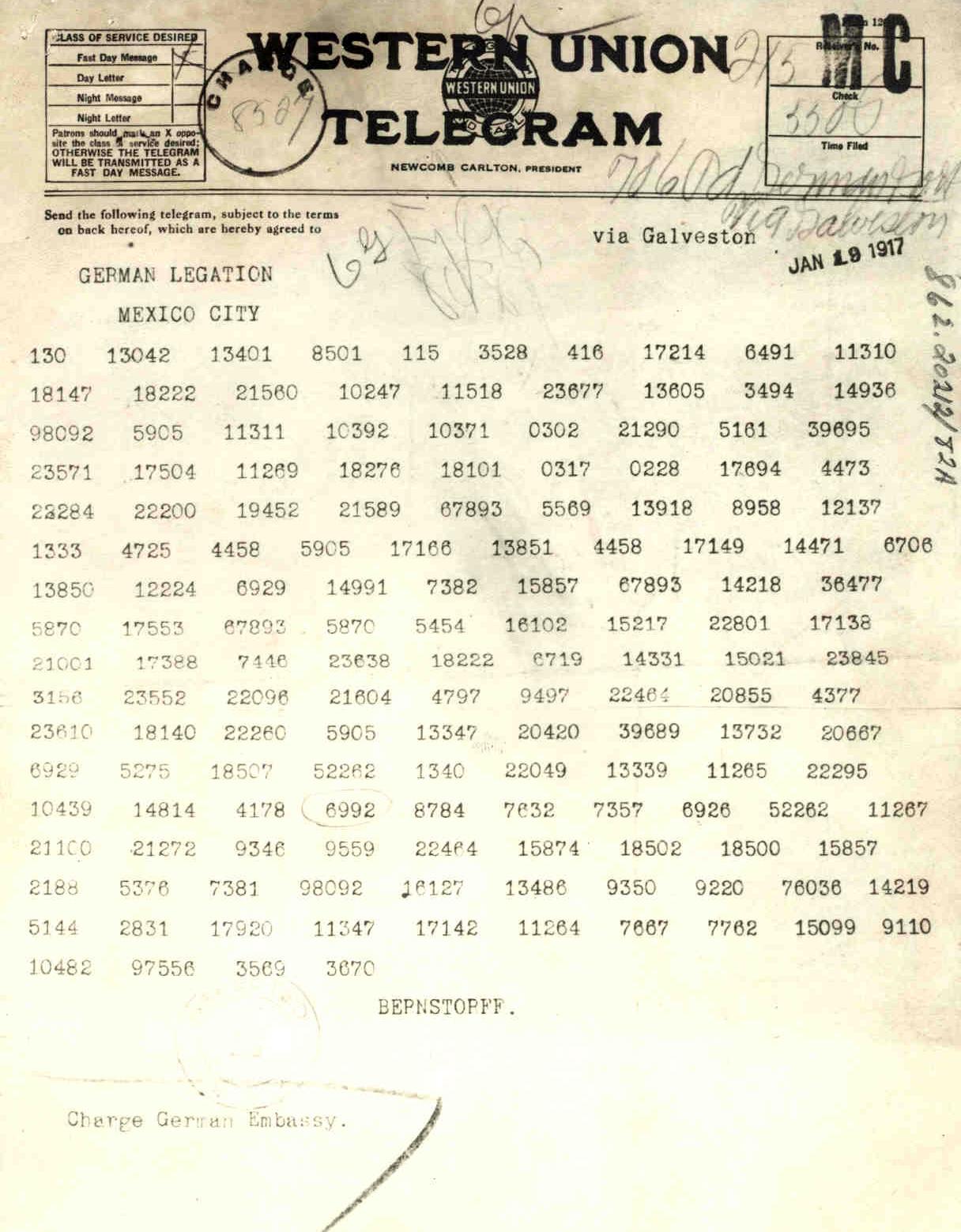 Zimmerman Telegram (via    National World War I Museum   )