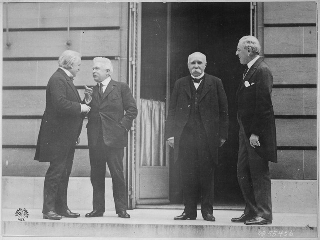U.K. Prime Minister David Lloyd George, Italian Prime Minister Vittorio Emanuele Orlando, French Prime Minister Georges Clemenceau and U.S. President Woodrow Wilson in Paris prior to signing the Treaty of Versailles, 1919 (via    The U.S. National Archives   )