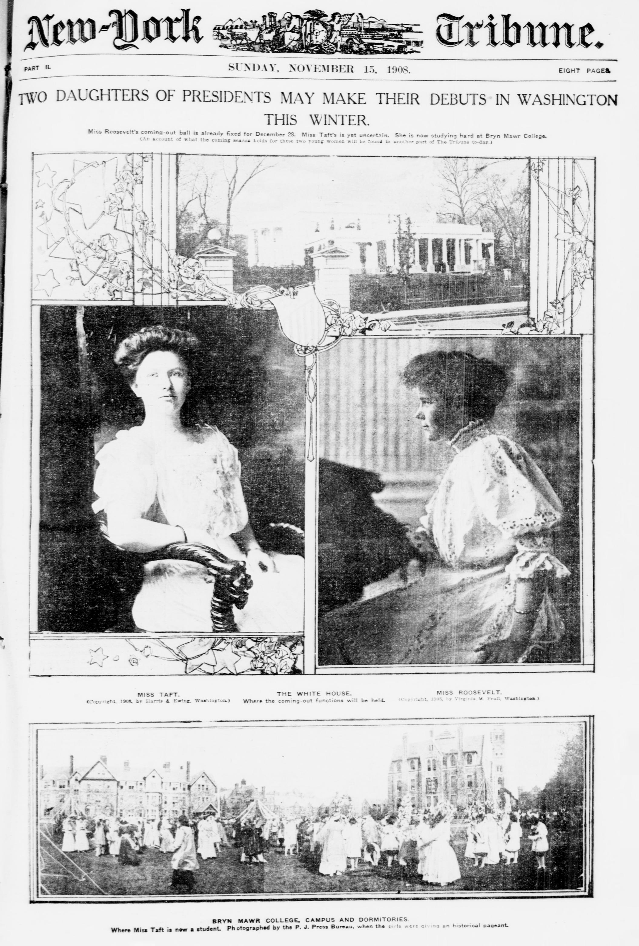 New-York Tribune   society pages on Theodore Roosevelt's daughters from November 15, 1908 (via    Flickr   )