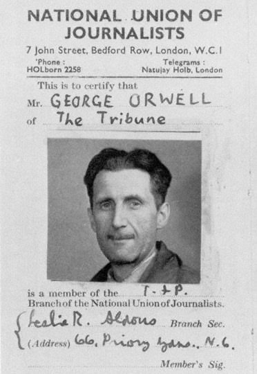 George Orwell's National Union of Journalists card, 1943 (via  Net Charles   )