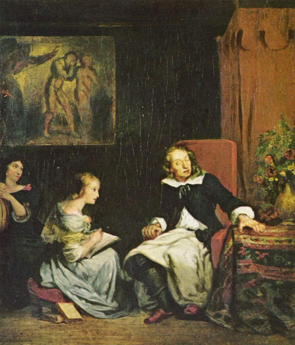 """""""Milton dictated his daughters the Paradise Lost"""" by Eugene Delacroix, 1826 (via    Wikimedia Commons   )"""