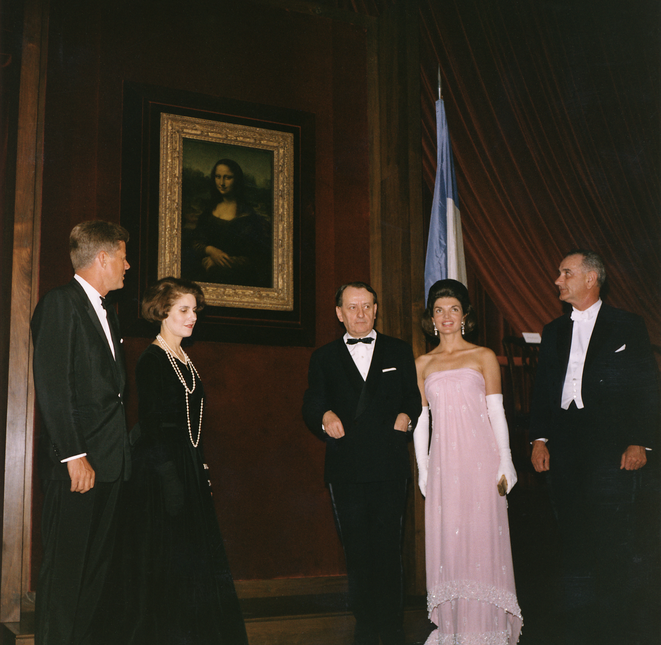 Andre Malraux, center, with John F. Kennedy, Malraux's third wife Madeleine, Jacqueline Kennedy and Lyndon B. Johnson (via    Wikipedia   )