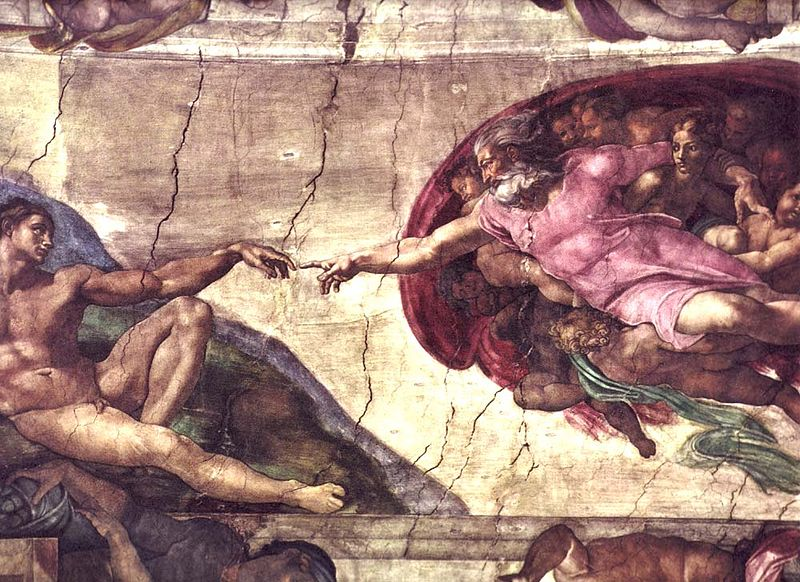 """""""The Creation of Adam"""" by Michelangelo(via    Wikimedia Commons   )"""