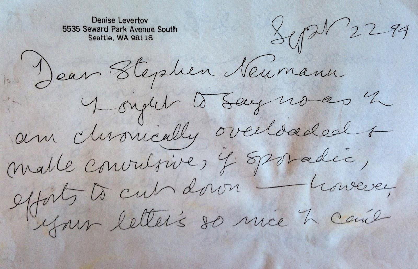 Letter from Denise Levertov (via author)