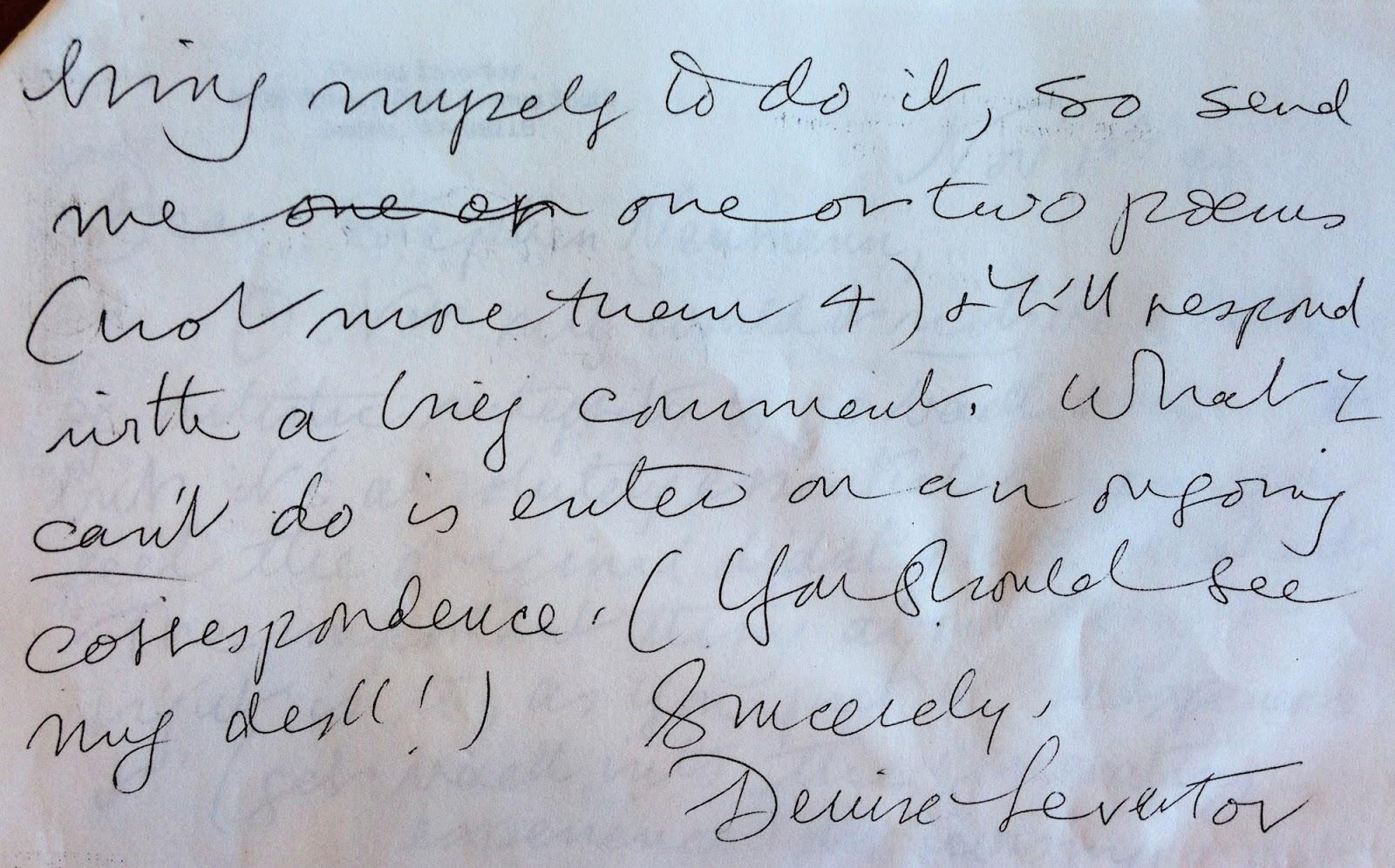 Letter from Levertov (via author)